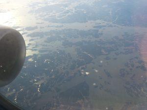 Anflug nach Tampere über die Ostsee